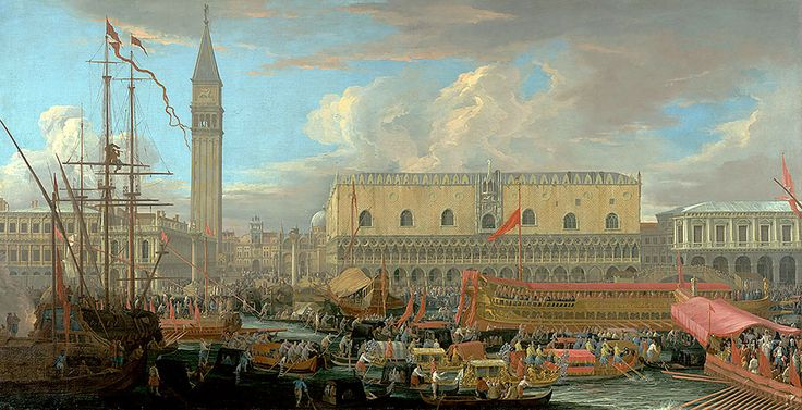 """Carlevaris Luca - Departure Of Bucintoro Pool St. Marco 1710 Getty  (from <a href=""""http://www.oldpainters.org/picture.php?/50828/category/16499""""></a>)"""