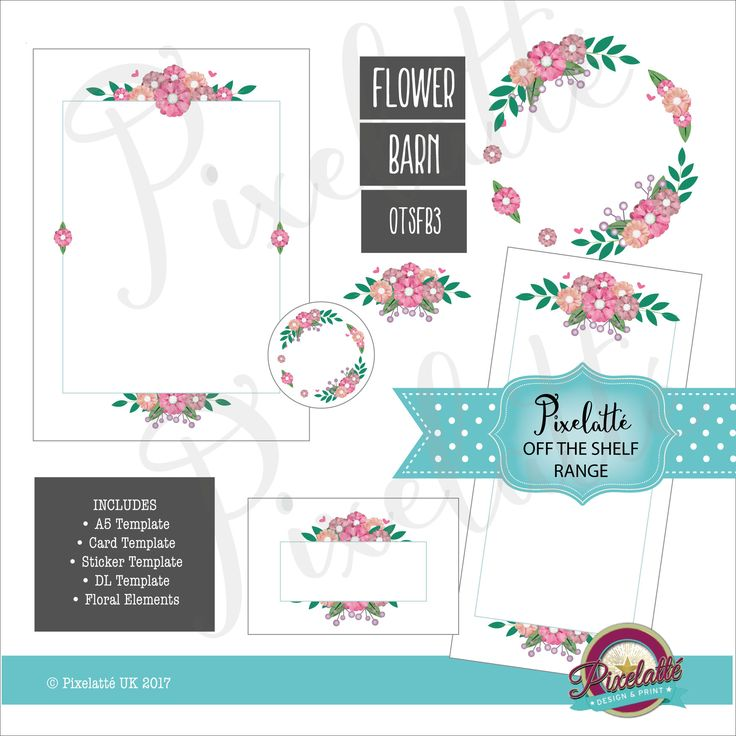 Floral Border Digital Download, Invitation, A5, DL, Price List, Sticker, Card, Flowers, Graphic Design Elements & Stationery Templates by PixelatteUK on Etsy