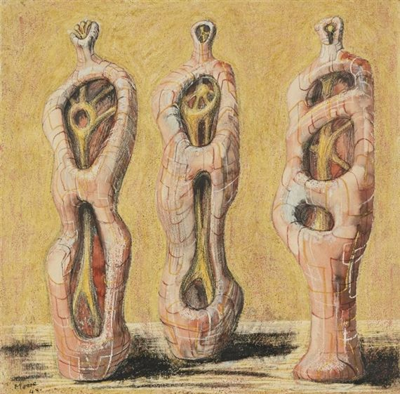 Artwork by Henry Moore, THREE FIGURES: INTERNAL/EXTERNAL FORMS, Made of Watercolor, wax crayon, colored crayon, ink wash and pen and ink on paper
