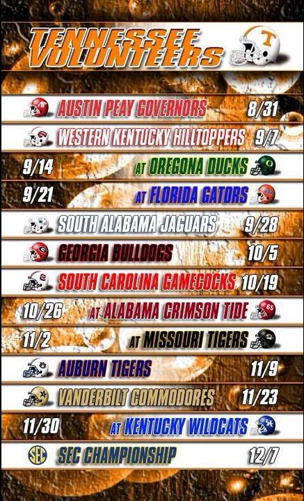 This #Tennessee #Vols schedule is too cool. I can't wait for the season to start!