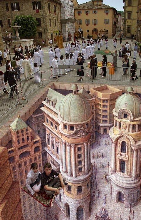 The Flying Carpet, 3D Chalk Art, Bettona, Italy