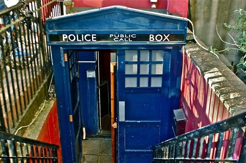 This is the entrance to a Bar in Cardiff, where it is known certain members of the cast of Doctor Who sometimes visit.