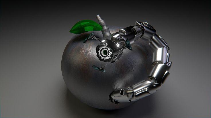 Pic by DirtyOpi . #art #digitalart #modernart #robot #apple #hybrid #modern #tech