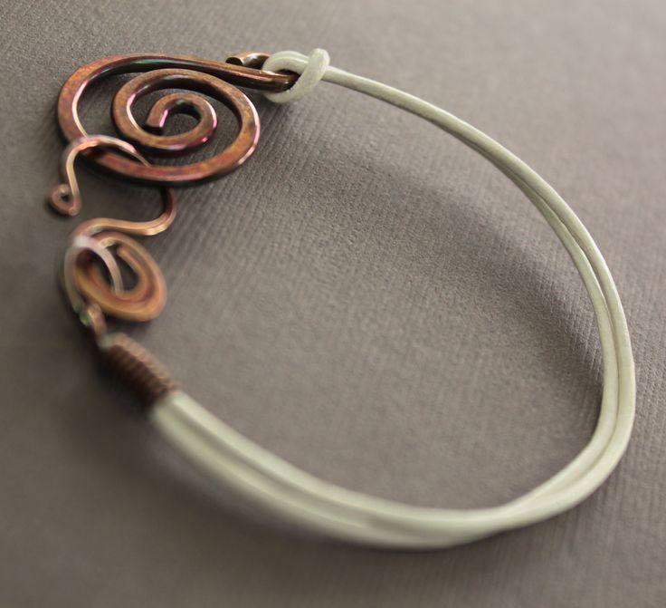 White leather copper bracelet