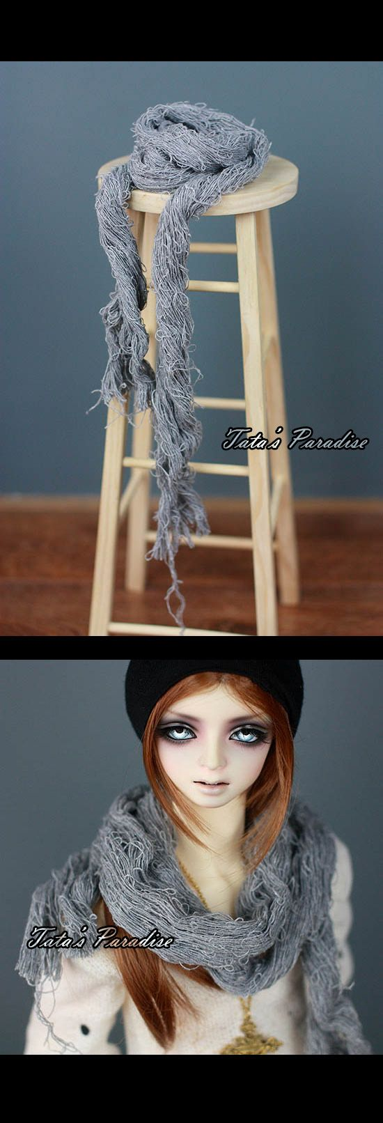 NO:HYD031 Grey-scarf_TA·ACCESSORIES_TATA'S PARADISE