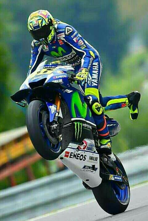 Rossi celebrating a win.