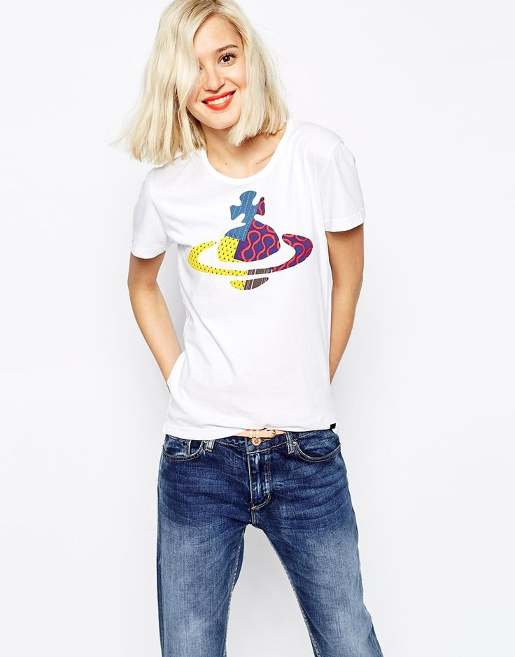 Vivienne+Westwood+Anglomania+Jeans+Orb+T-Shirt+With+Patchwork+Applique