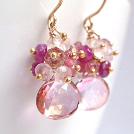 Pink Gemstone Earrings Quartz Sapphire Tourmaline 14k by aubepine, $59.75