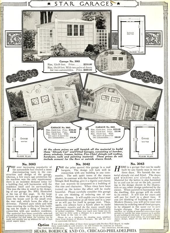 In the back pages of the 1921 Sears Modern Homes catalog, youll find a page devoted to their garages.Modern Home