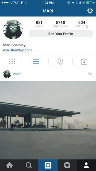 Instagram iPhone user profiles screenshot