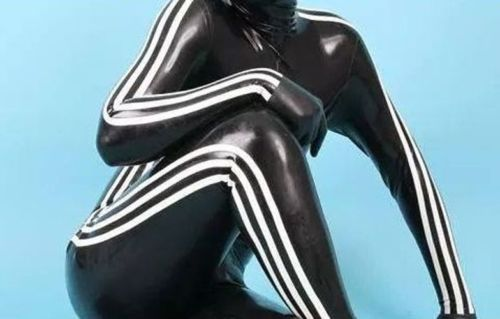 Latex-Rubber-Catsuit-Black-and-White-Bodysuit-Sports-Tights-Suit-Size-XS-XXL