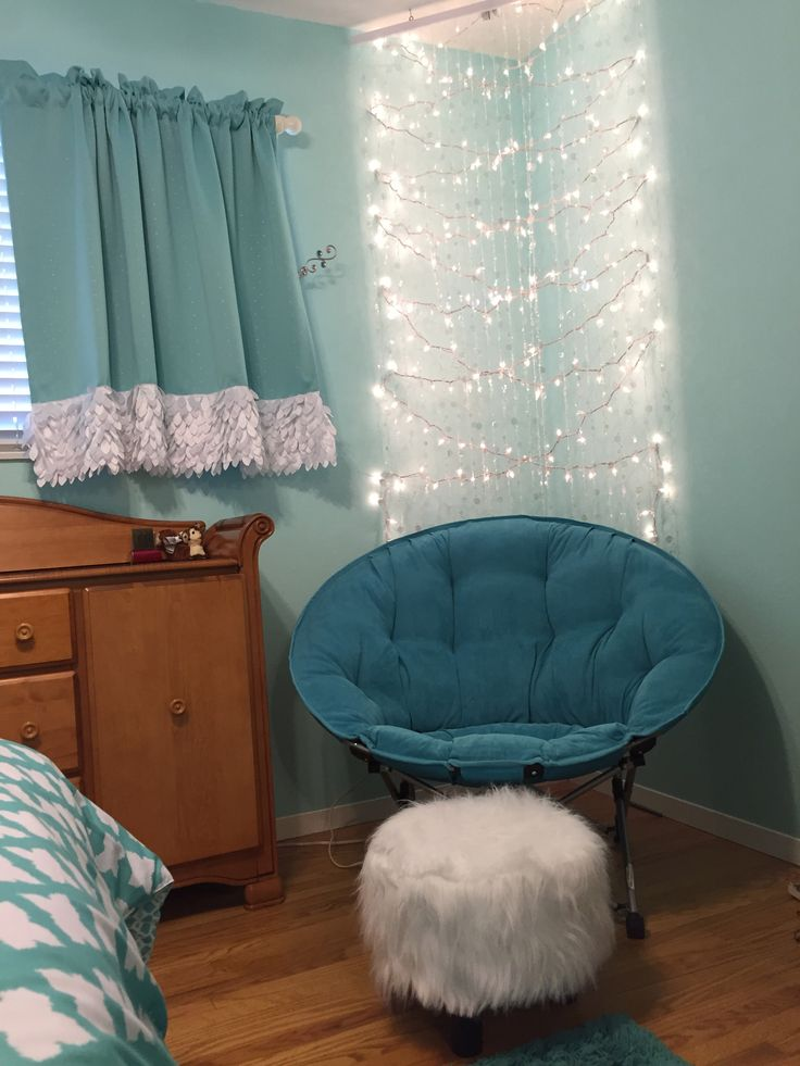 Tween Teen Girl Aqua Teal Bedroom. Cool Corner         Embellished Curtains.  Blackout Curtains.  lighted Reading Nook Embellished blackout curtains