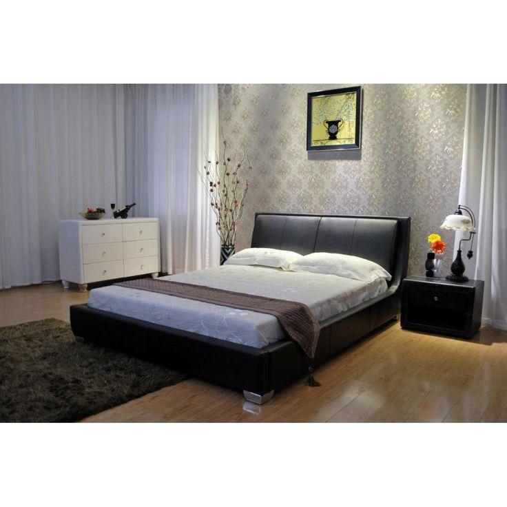 greatime home tilted upholstered low platform bed california kingblack black