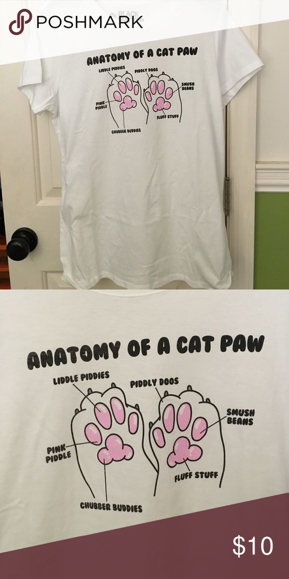 Cat Paw Shirt plain white tea with graphic on it. never been worn Tops Tees - Short Sleeve