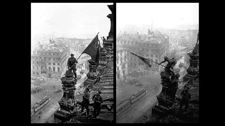 Alzando una bandera sobre el Reichstag» es el nombre de estas fotografía tomadas el 2 de mayo de 1945, el día que acabó la batalla de Berlín...