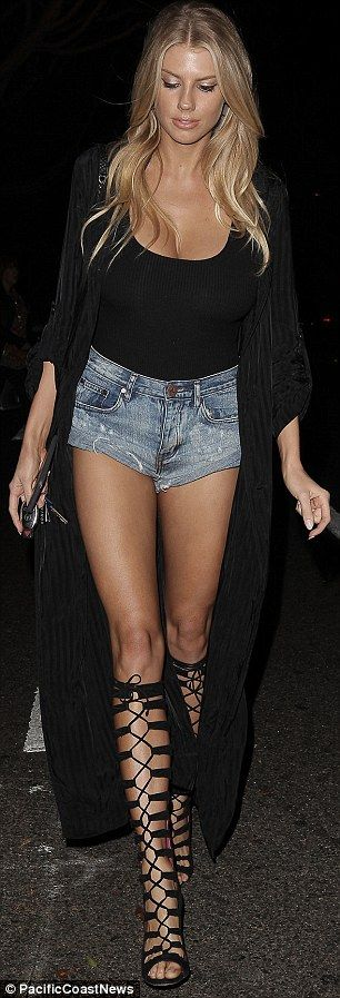 Wow factor: The model, who hit the pavement in knee-high lace up heels, was seen leaving Soho House with her boyfriend actor Stephen Dorff