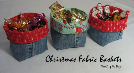 Make some cute, little Christmas Fabric Baskets from pre-loved jeans ~ Threading My Way