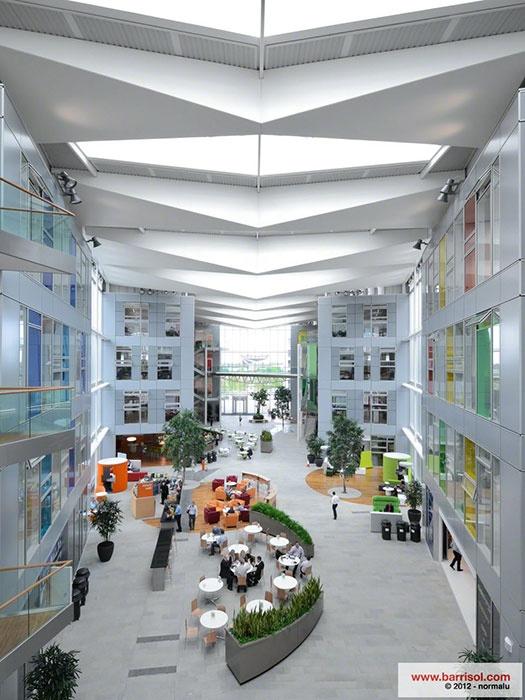 "Barrisol - Plafond tendu ""Network Rail Headquarter"" à Milton Keynes, Angleterre. (GMW Architectes)"