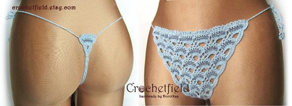 Sexy blue crochet thong with beads g-string lace by Crochetfield