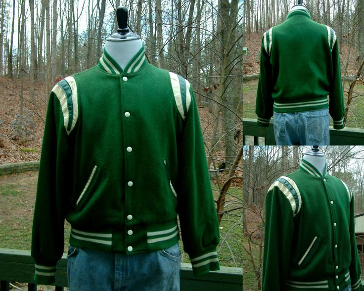 1970s 1980s Varsity Letterman Sports High School, College Wool Green and White Jacket from Holloway, Size M, Made in the USA, Cary NC, Imps by HiddenTreasureHunter on Etsy