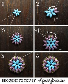 Summer Medallion Instructions - working with super duos is fast and easy. Another pictoral for earrings or pendant from Legendary Beads ~ Seed Bead Tutorials