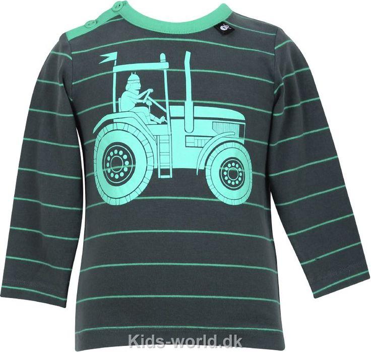 Danefæ Bluse - Grøn stribet m. Trakthor - Børnetøj med fri fragt.