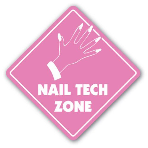 "NAIL TECH ZONE Sign xing gift novelty nails manicure pedicure polish tub - This is a brand new 12"" tall and 12"" wide diamond shape sign made from weatherproof plastic with premium grade vinyl. The sign is perfect for indoor or outdoor use, made to la"