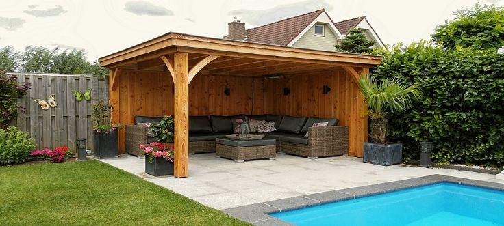landelijke terrasoverkapping in hout   ... en geïmpregneerd houten maatwerk veranda's en terrasoverkappingen