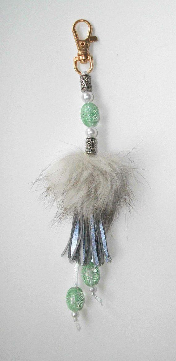 Fox fur pom pom purse charm purse clipon Hand bag by TuuliHandmade