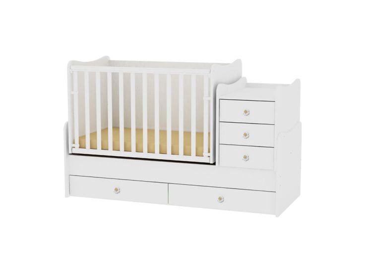 Lit bébé évolutif combiné transformable maxi plus blanc