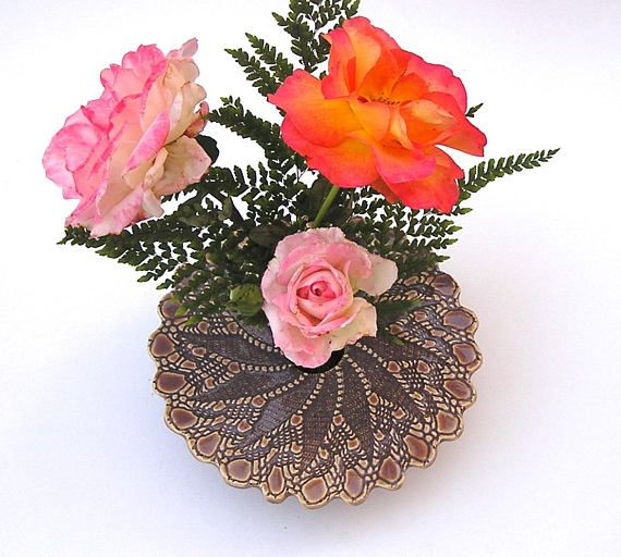 Handmade Ceramic Vase . Wheel Thrown & Kiln-Fired Pottery Ikebana by KensGardenPottery on Etsy