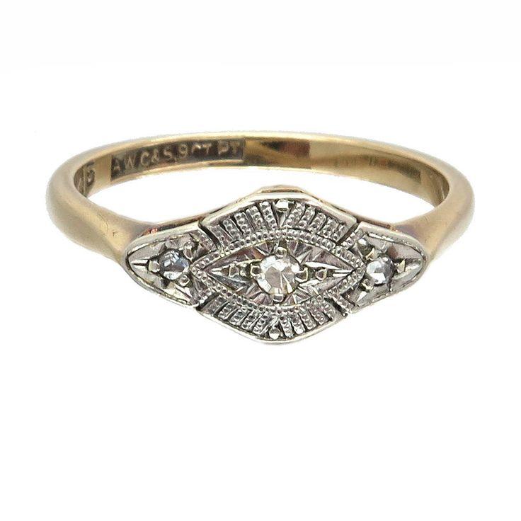 1920s Art Deco Engagement Ring Or Gift | Vintage Diamond Ring | 9ct Gold & Platinum | Size UK K 1/2 / USA 5 1/2 | Free Worldwide Shipping