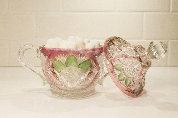 75% OFF SALE    Sugar Bowl Candy Dish Crystal by ClockworkRummage