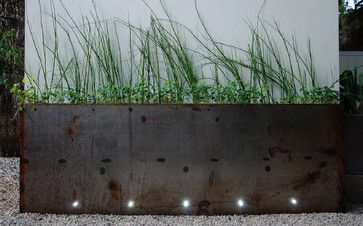 Form follows function - outdoor planter with LED lighting - ideal for a sidewalk or terrace.