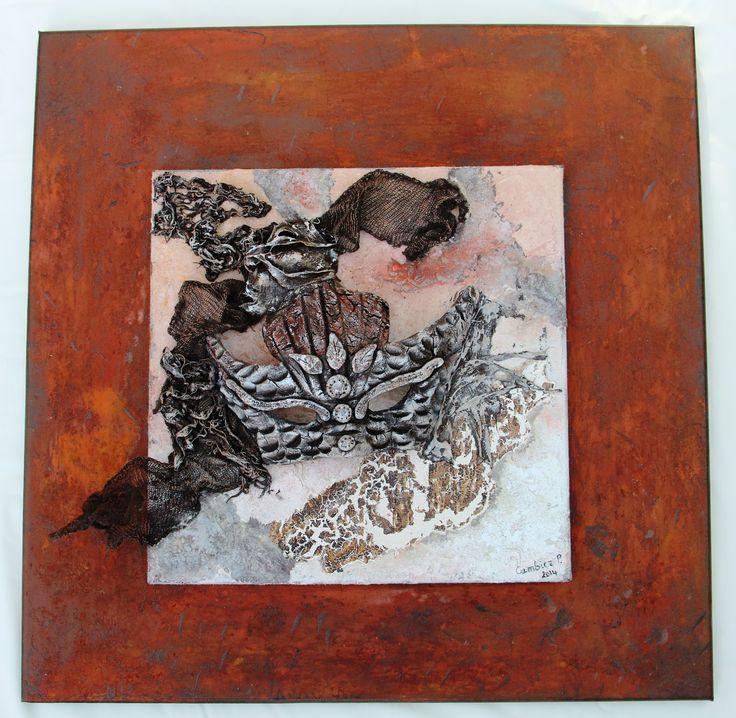 Masque sur toile peinture powertex effet pierre et rouille - Peinture effet pierre ...