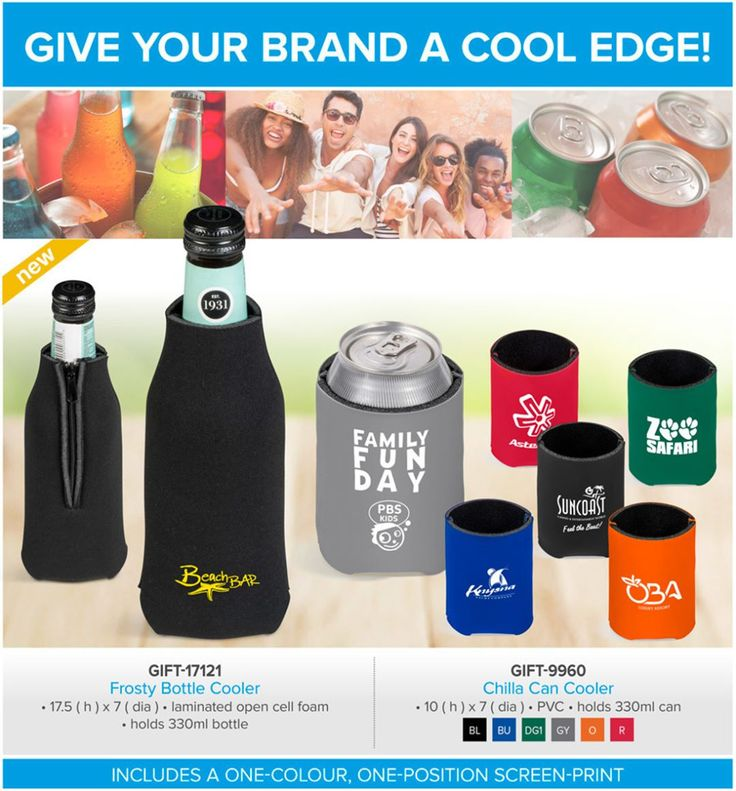 GIFT-17121Frosty Bottle Cooler GIFT-9960Chilla Can Cooler Only R 14.90 each, free branding. Branding setup cost applies. FREE BRANDING SETUP ON 300 or more COOLERS. FURTHER DISCOUNTS on bulk order of 500 or morw.  Keep your drinks cool for longer with these beverage coolers, designed to eliminate condensation and provide a comfortable grip.  Both our new Frosty Bottle Cooler and Chilla Can Cooler are perfect for sports events, BBQ's and picnics.  To give your brand a cool edge, the price…