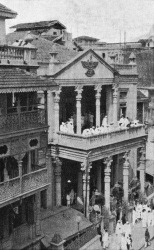 Parsi (Indian Zoroastrian) Fire Temple near Dhobi Talao, Bombay (Mumbai), on a Parsi Holiday. Date: 1920s