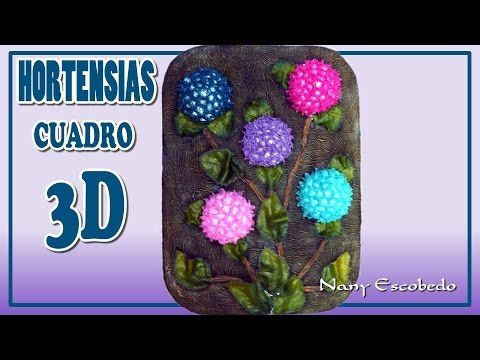 HORTENSIAS CUADRO 3D - YouTube