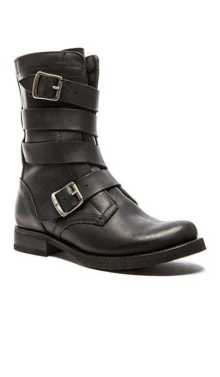 Frye Veronica Tanker Boot in Black   REVOLVE