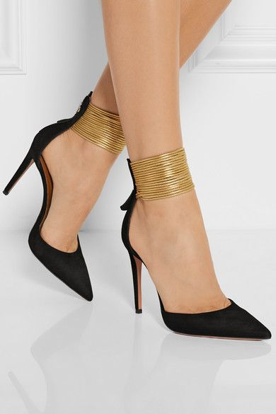Aquazzura | Hello Lover cord-trimmed suede pumps. Digging the gold cord ankle wrap...