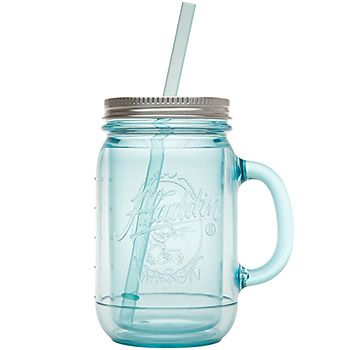 The Original Insulated Mason Tumbler with stainless steel lid and vintage aqua tint.