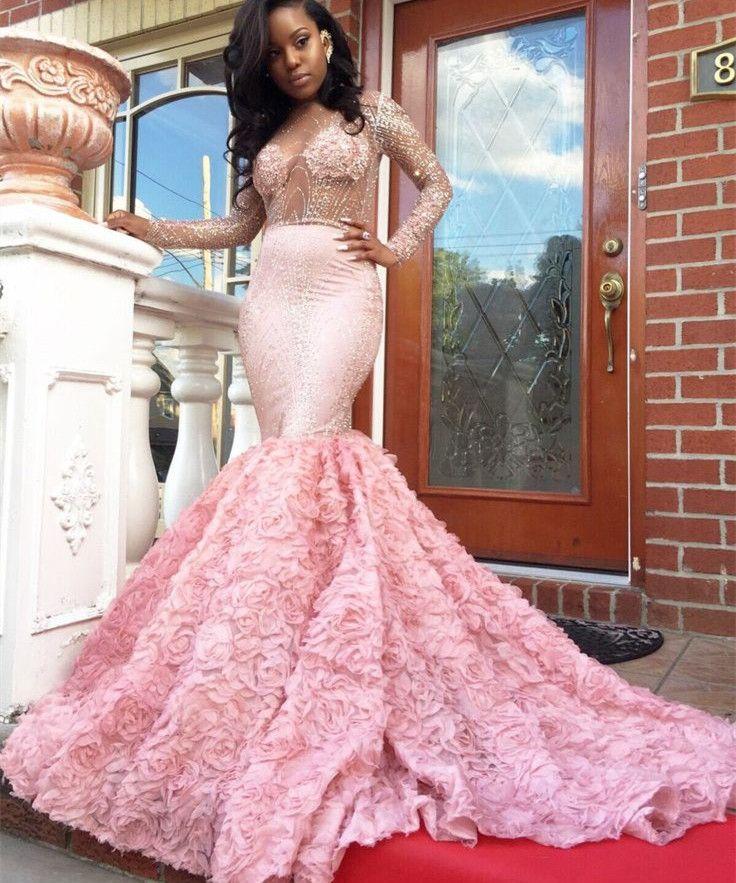 Beadings Elegant Appliques Mermaid Pink Sleeves Long Prom Dress