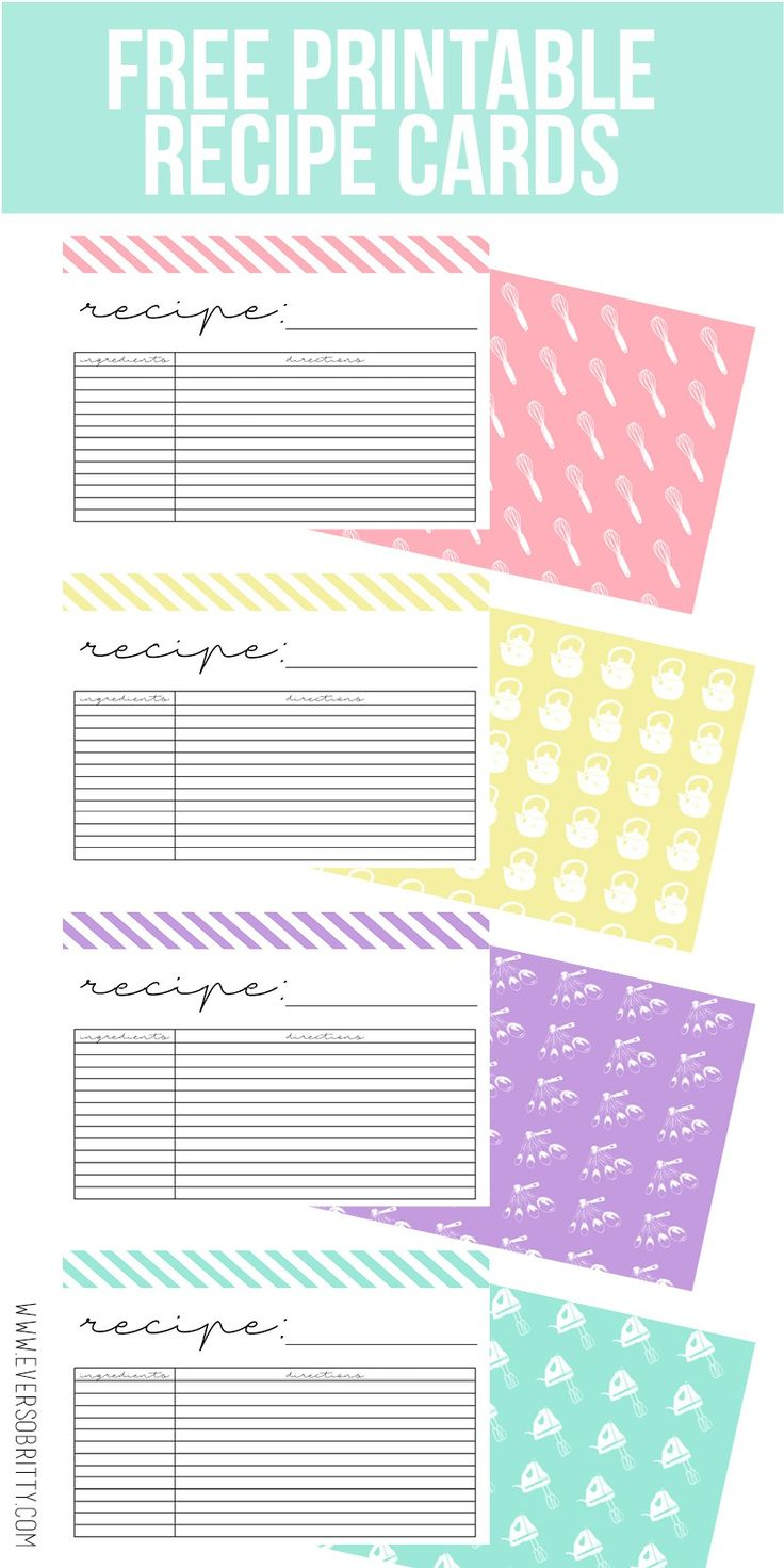 Free Recipe Cards at Ever So Britty. Find this and more on the blog!