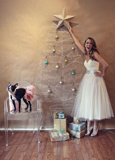 "Apartment Therapy, ""Creative Christmas Trees for Small Spaces"" Hm, not sure about parading around in a wedding dress in my house while decorating, but I really like these ideas!"
