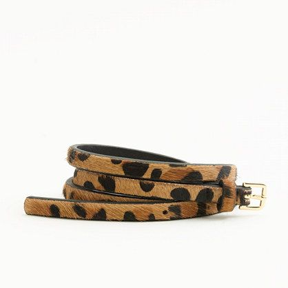 Love the addition of a animal print belt to spice up an outfit. I recently bought this Jcrew Factory pony hair skinny belt.