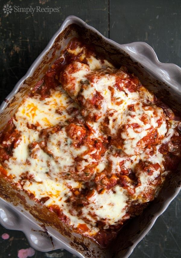 Chicken Marinara ~ Chicken pieces coated with Parmesan and bread crumbs, fried and covered with a tomato basil marinara sauce, and topped with melted Mozzarella. ~ SimplyRecipes.com