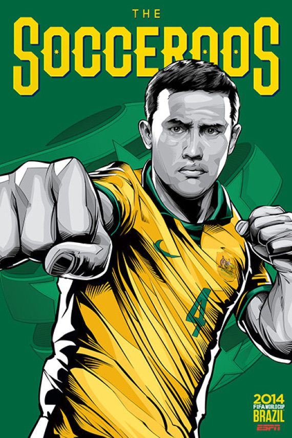 Australia, Afiches fútbol Copa Mundial Brasil 2014 / World Cup posters by Cristiano Siqueira