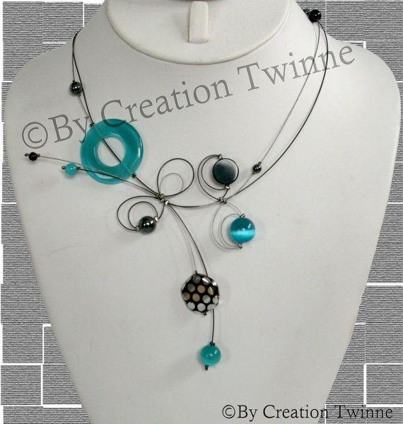 collier bleu, des bijoux uniques fait main, mariée, funky collier, cadeau de demoiselles d'honneur, cadeaux jours mères, bijoux délicat, bij...