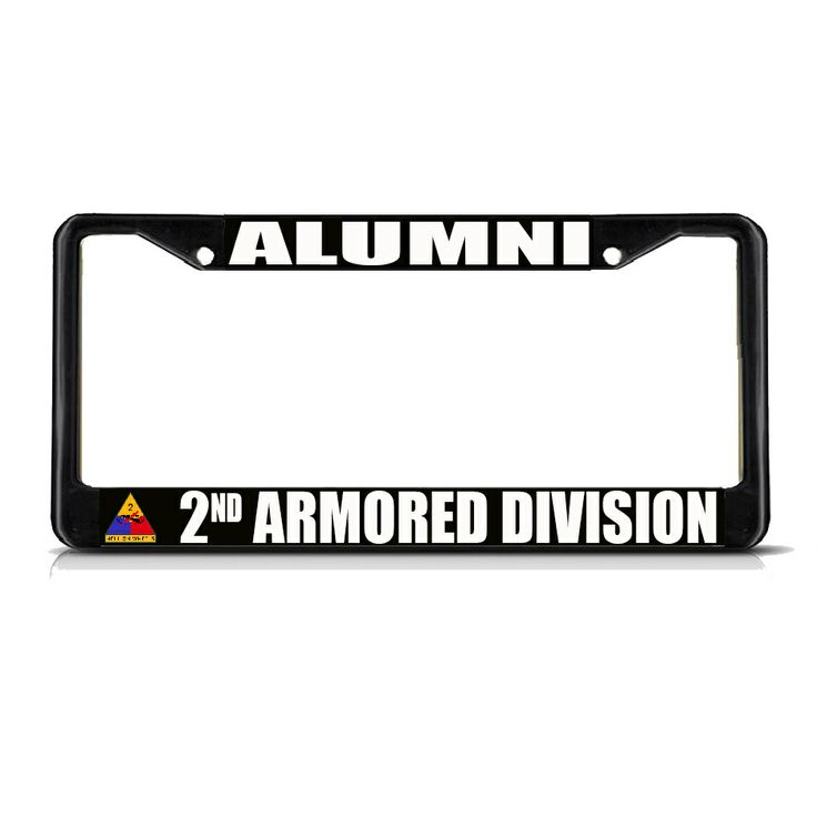 license plate frame mall alumni 2nd armored division army black metal license plate frame tag