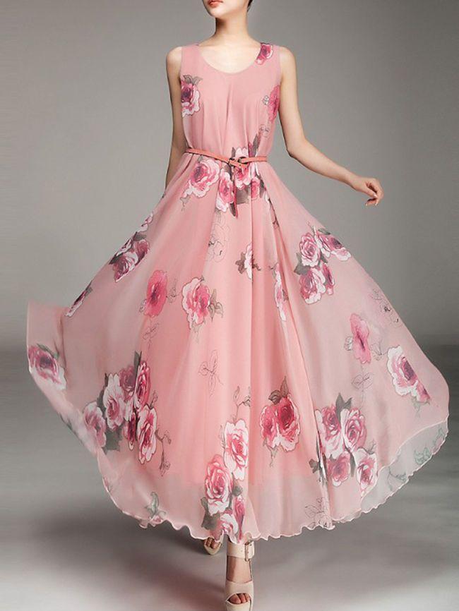 Round Neck  Belt  Floral  Chiffon Maxi Dress